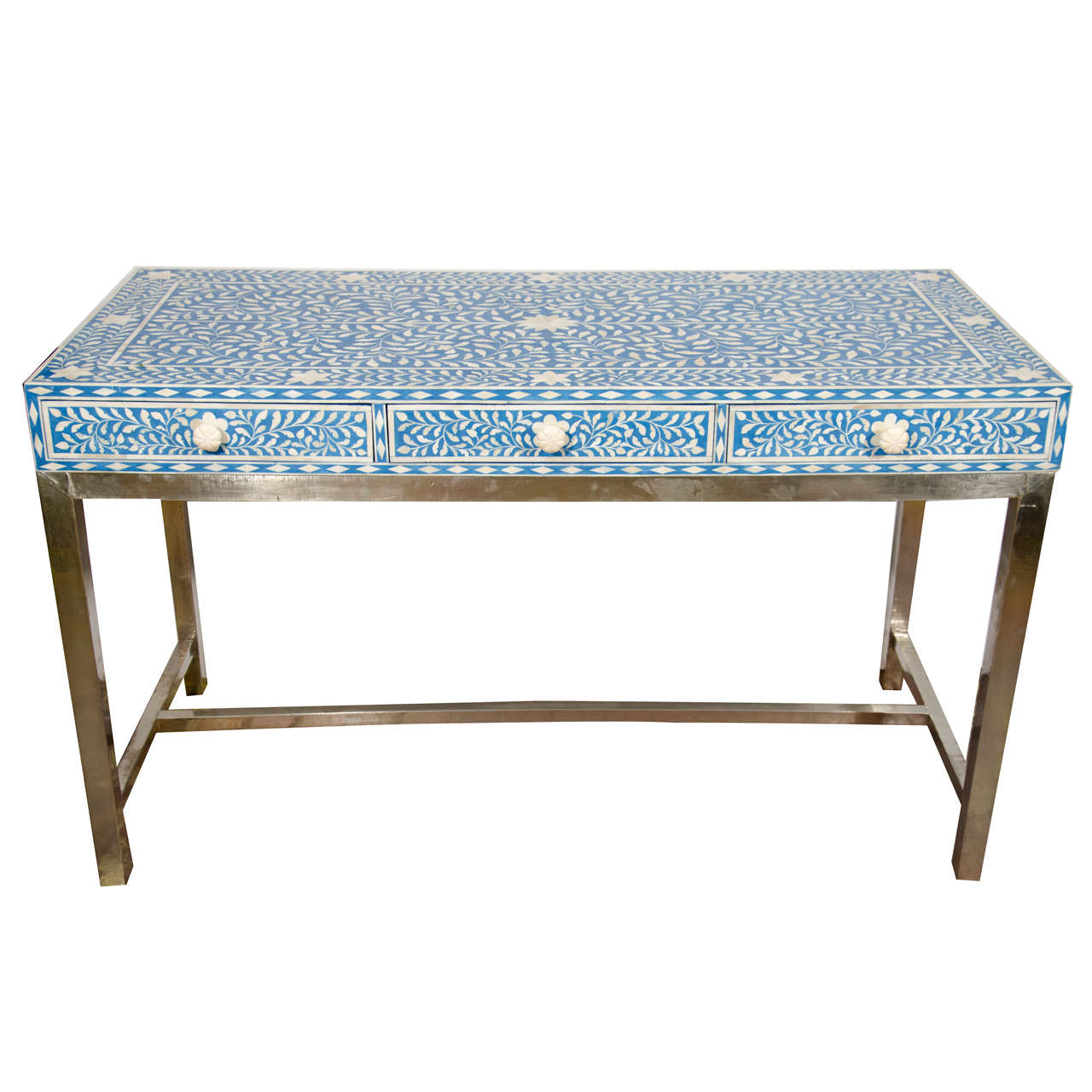 steel chair buyers in india blue pattern accent indian bone inlay and white writing desk with