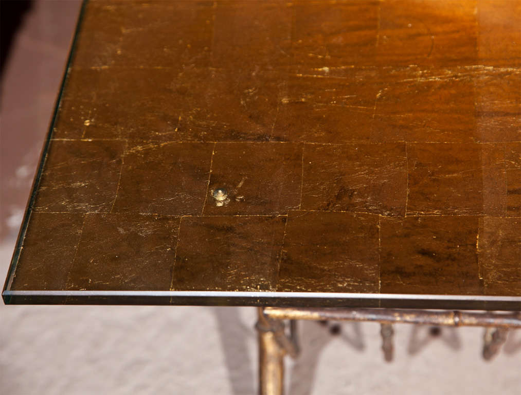 Faux Bamboo Gilt Glass Coffee Table by Jansen For Sale at