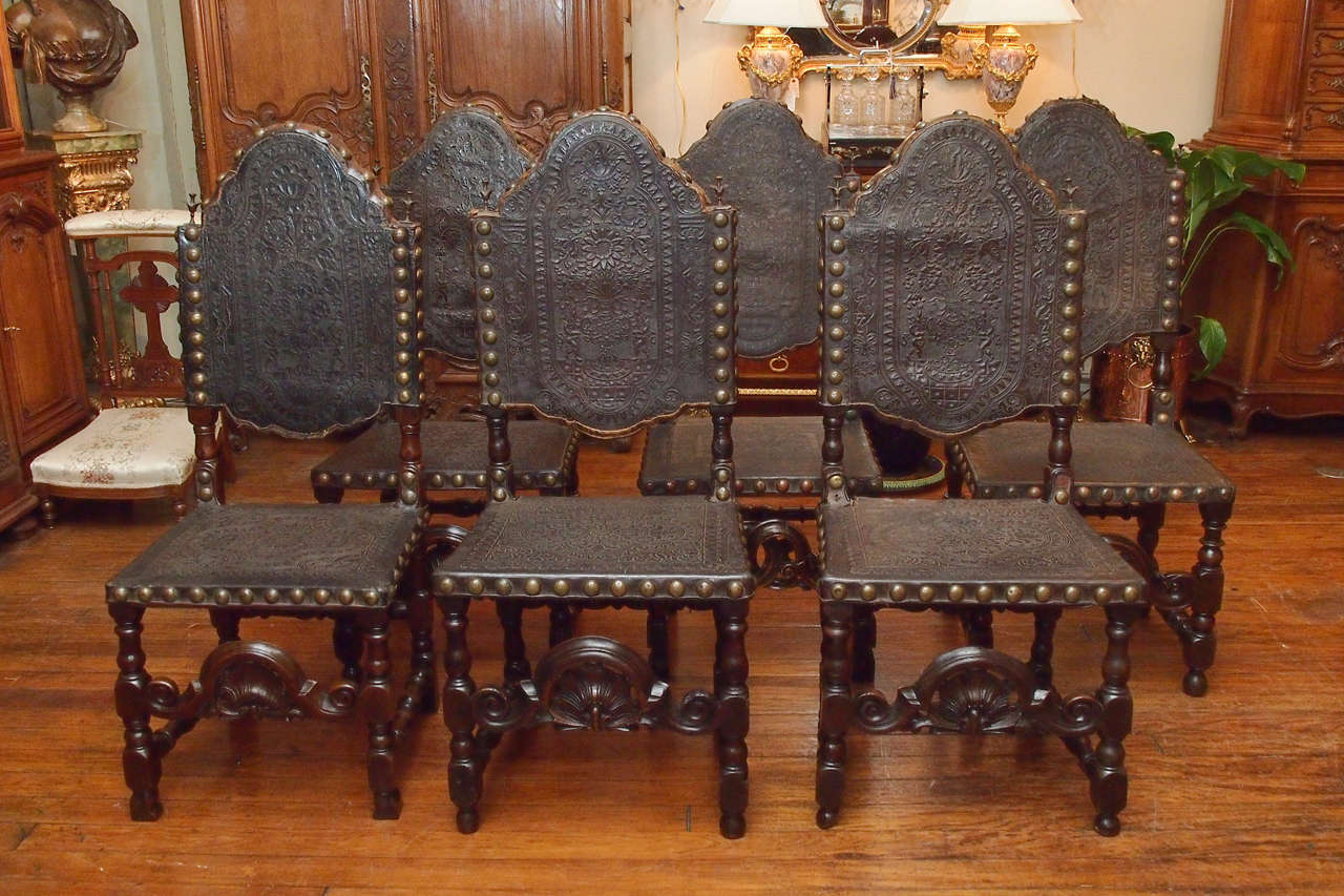 medieval dining chairs childrens study table and chair set of 12 antique gothic style oak leather