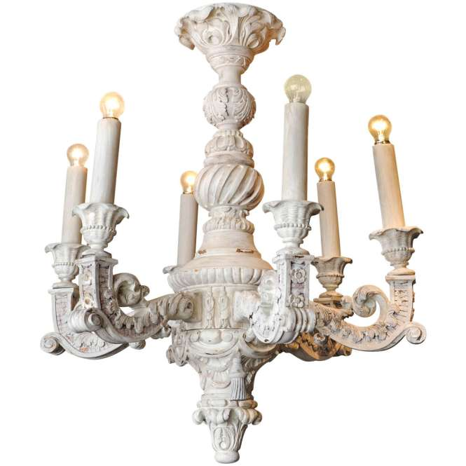Large French Baroque Carved And Off White Painted Wooden Chandelier For