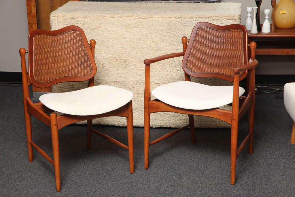 dining chairs with caning grey recliner chair uk six arne vodder teak and cane at 1stdibs sold gorgeous designed in inset on the movement adjusting