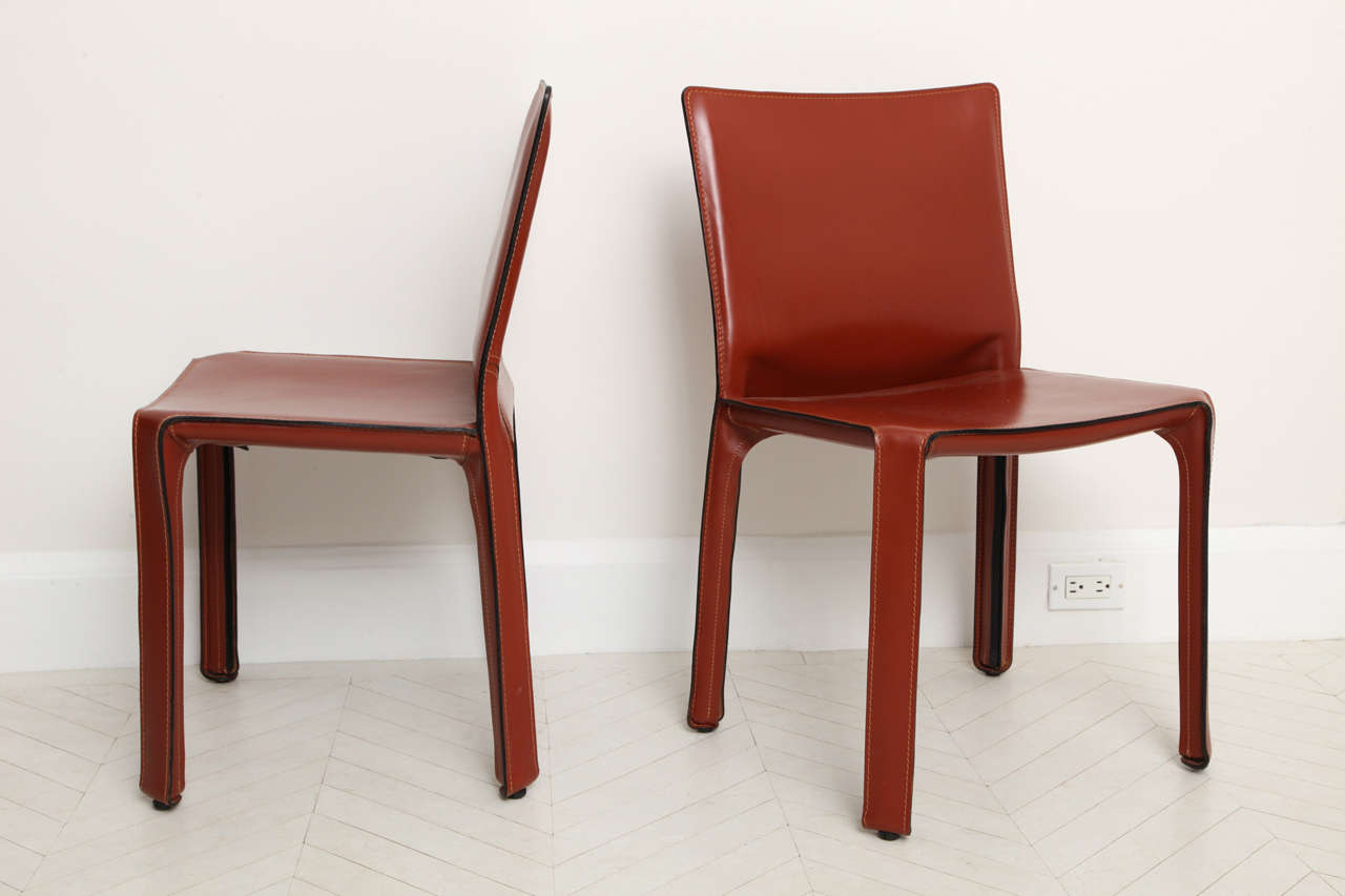 mario bellini chair fishing names set of eight quotcab 412 quot leather side chairs