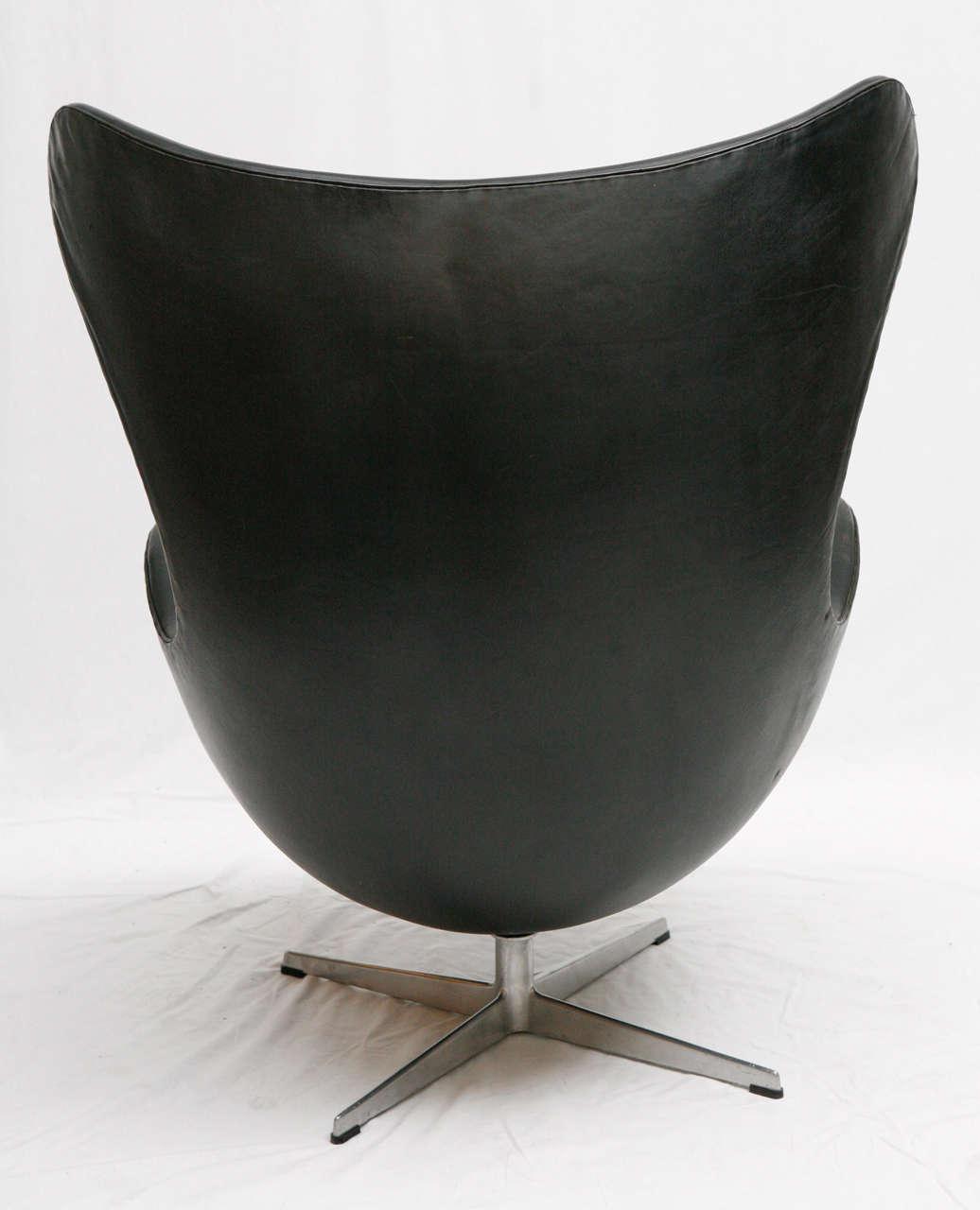 vintage egg chair antilop high black leather arne jacobsen at 1stdibs
