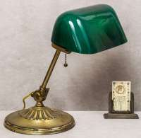 Banker's Lamp with Green Cased Glass Shade at 1stdibs