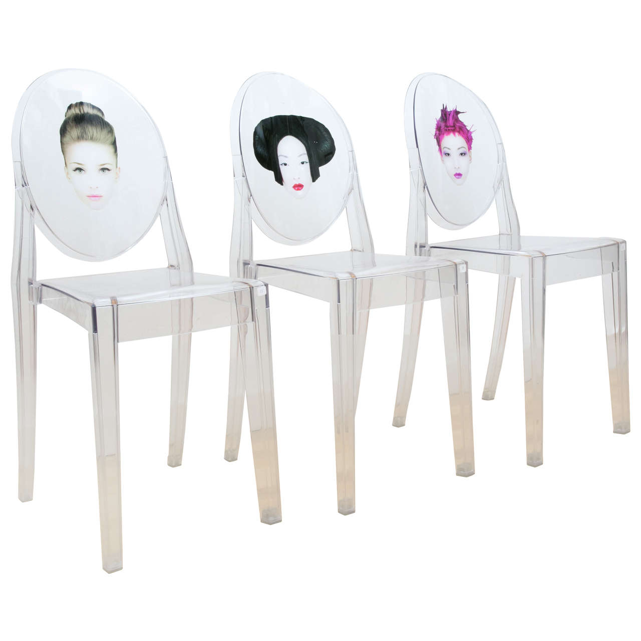 victoria ghost chair swinging outdoor plans set of three chairs exclusively designed by philippe starck for sale