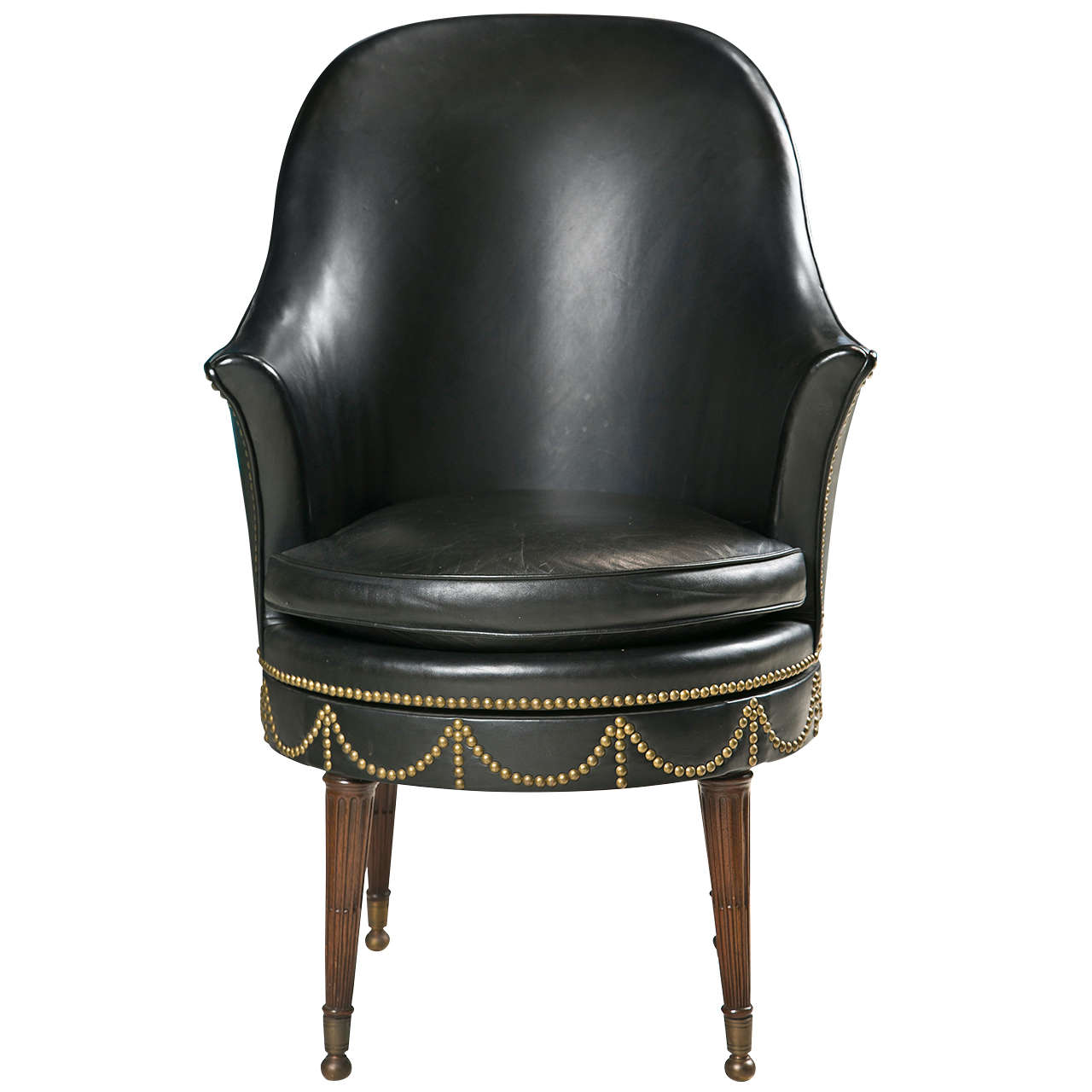 leather swivel chair tiffany wedding chairs black with decorative nailheads at