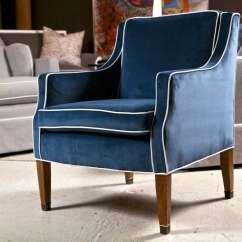 Swivel Club Chair With Ottoman Office Gas Cylinder Mid-century Chairs Blue Velvet Upholstery At 1stdibs