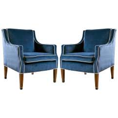 Navy Blue Velvet Club Chair Art Deco Chairs Mid Century With Upholstery At 1stdibs