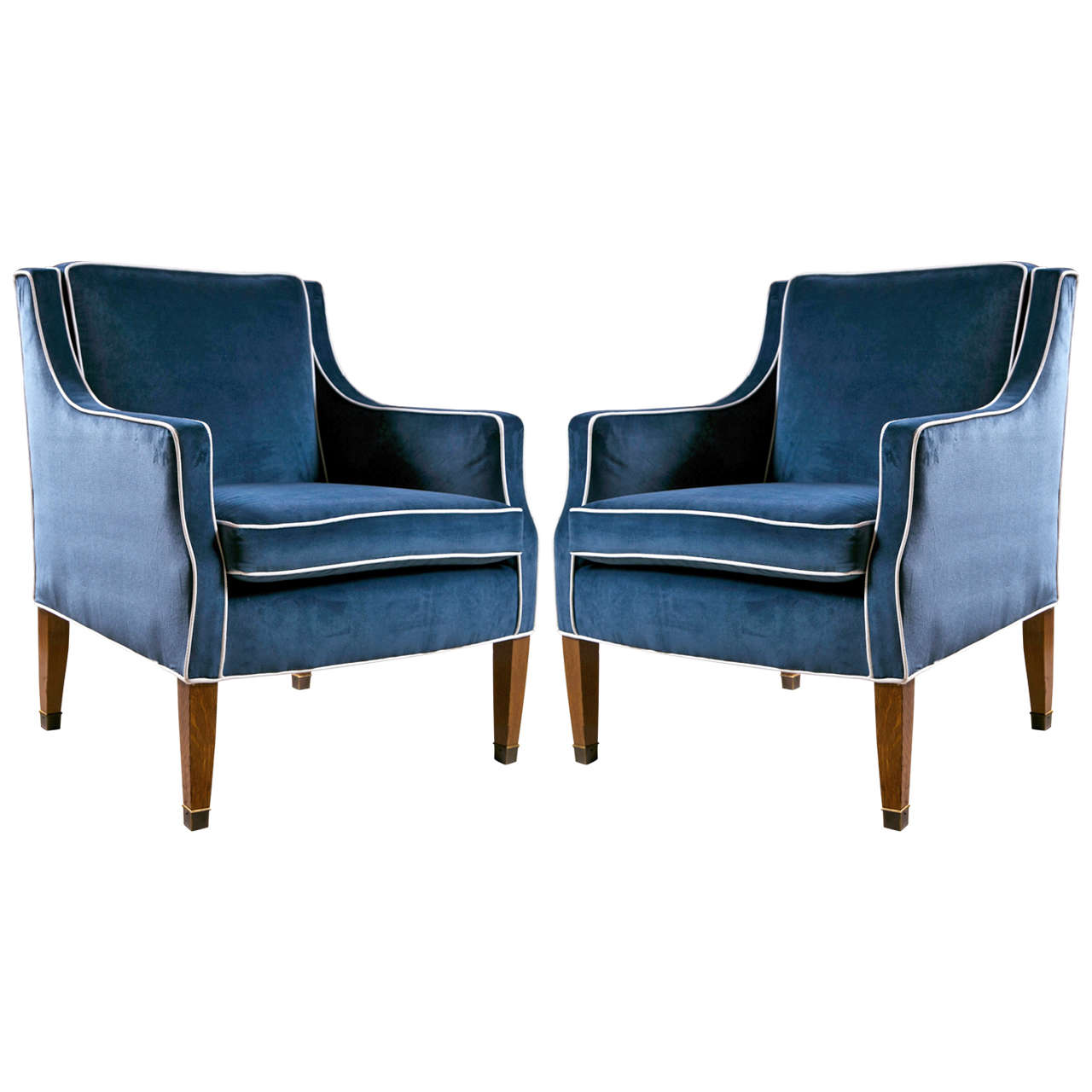 Blue Velvet Chair Mid Century Club Chairs With Blue Velvet Upholstery At 1stdibs