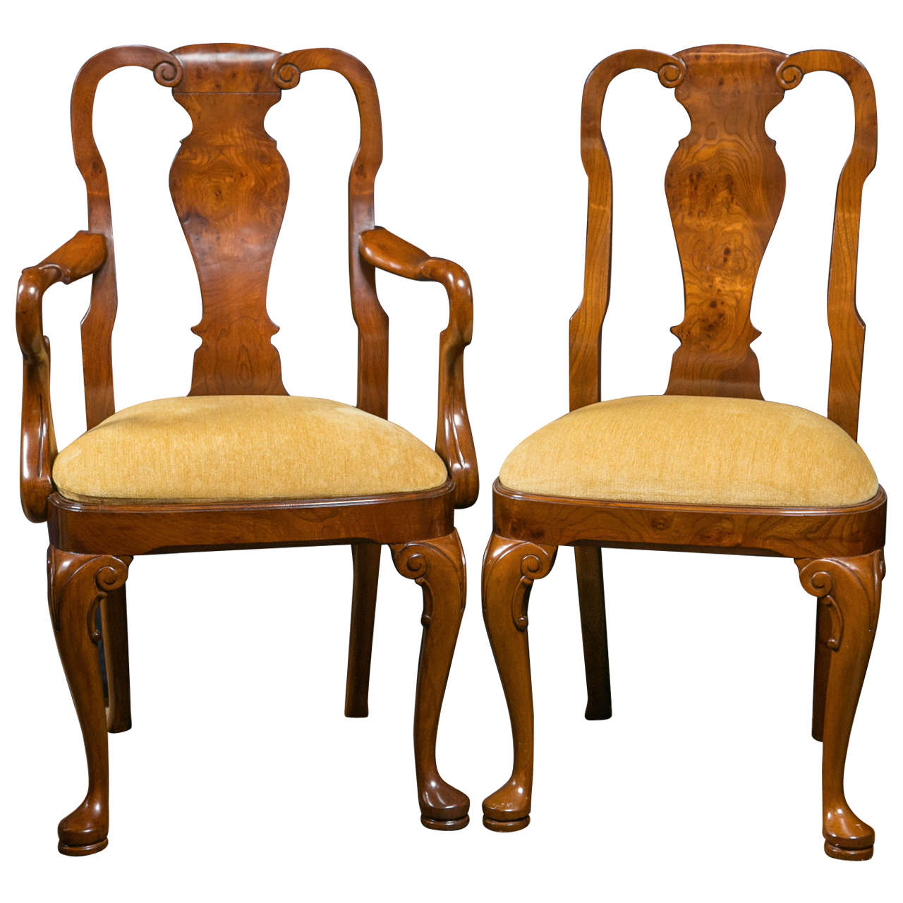 queen anne style chairs chair covers for sale cheap walnut dining at 1stdibs