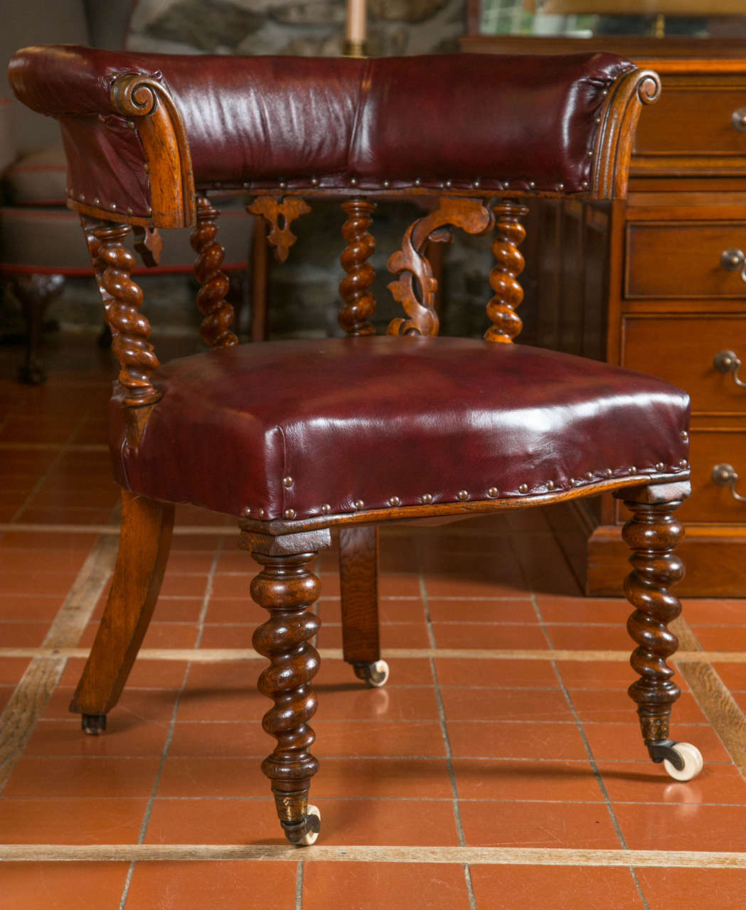 wooden library chair duck blind pair of carved oak or desk chairs for sale at 1stdibs
