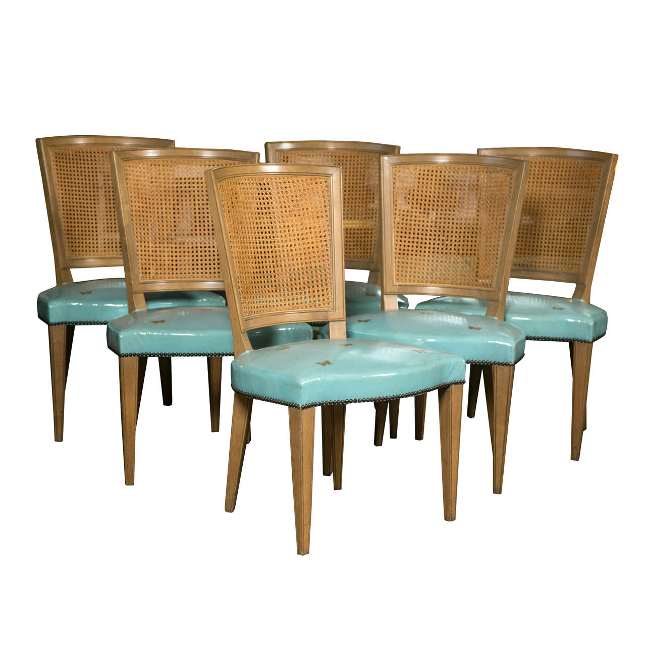 Blue Leather Dining Chairs Set Of Six Blue Leather Baker Dining Chairs At 1stdibs