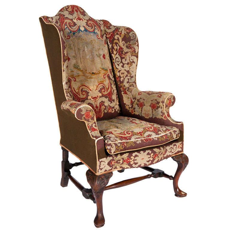 queen ann chairs saucer chair for adults 18th century anne walnut wing with tapestry covering at sale