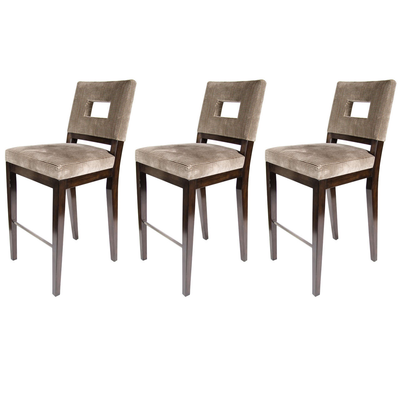 Upholstered Bar Chairs Set Of Three Mid Century Modern Bar Stools With Cut Out Back Design