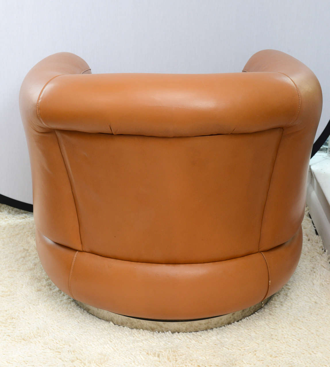 leather swivel barrel chair inglesina table tray pair of 1970s brazilian chairs at