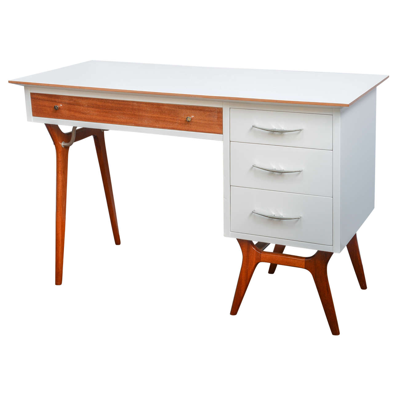 Mid Century Teak And White Lacquered Desk By R Way For