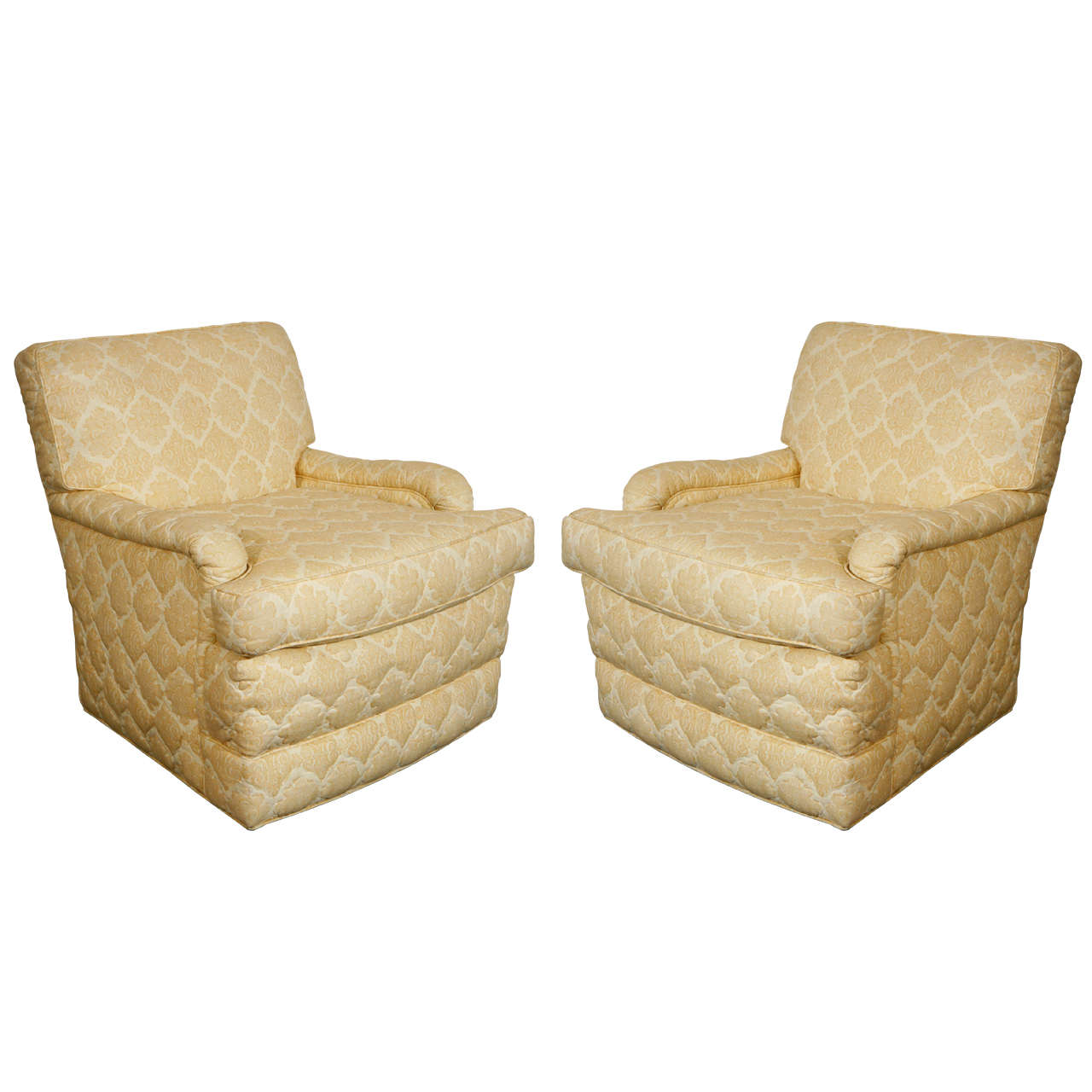 quilted swivel chair yellow desk pair of william haines quotseniah quot chairs in original