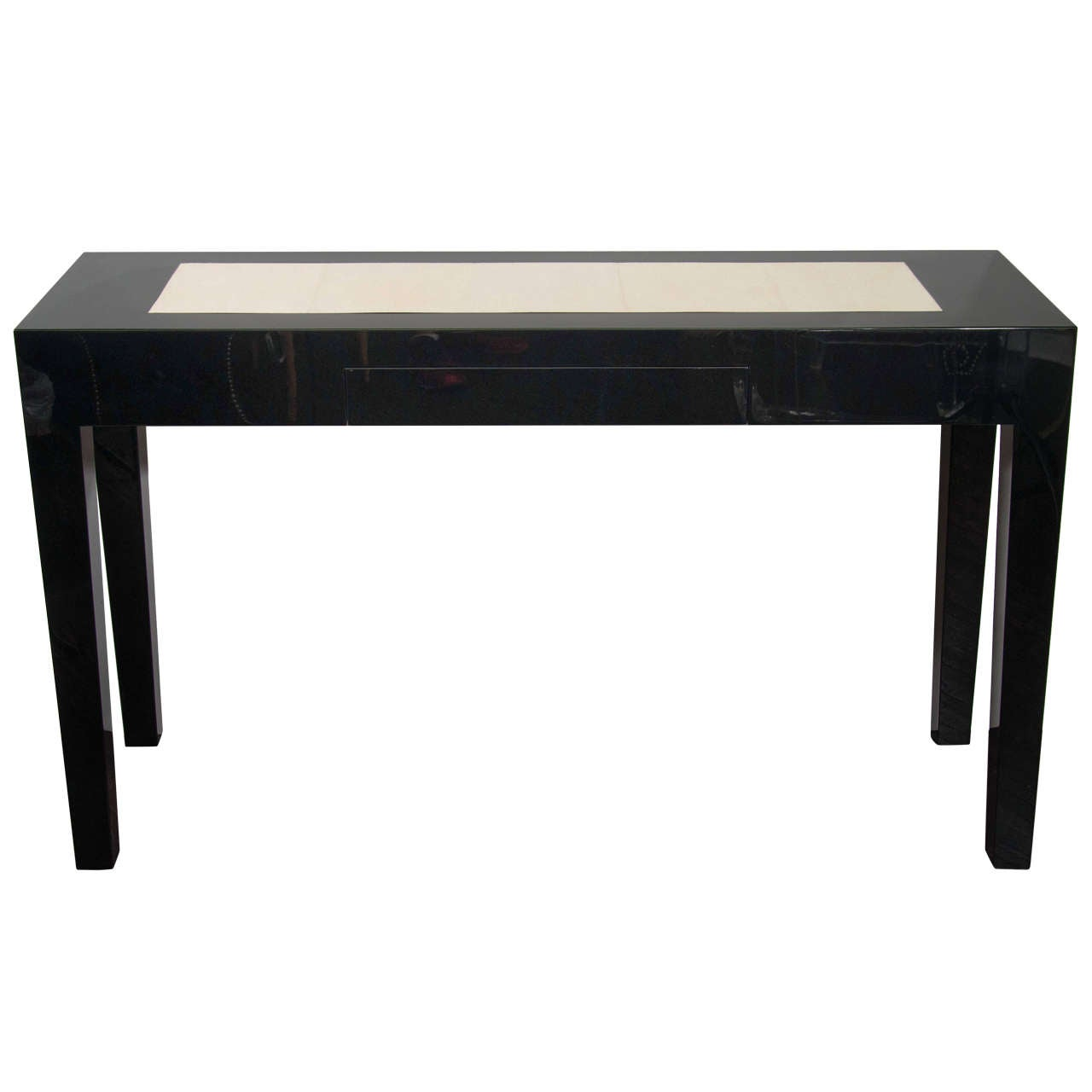 black lacquer sofa table promocion cama homecenter custom console with shagreen insert at
