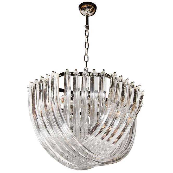 Stunning Modernist Murano Glass Ribbon Chandelier For