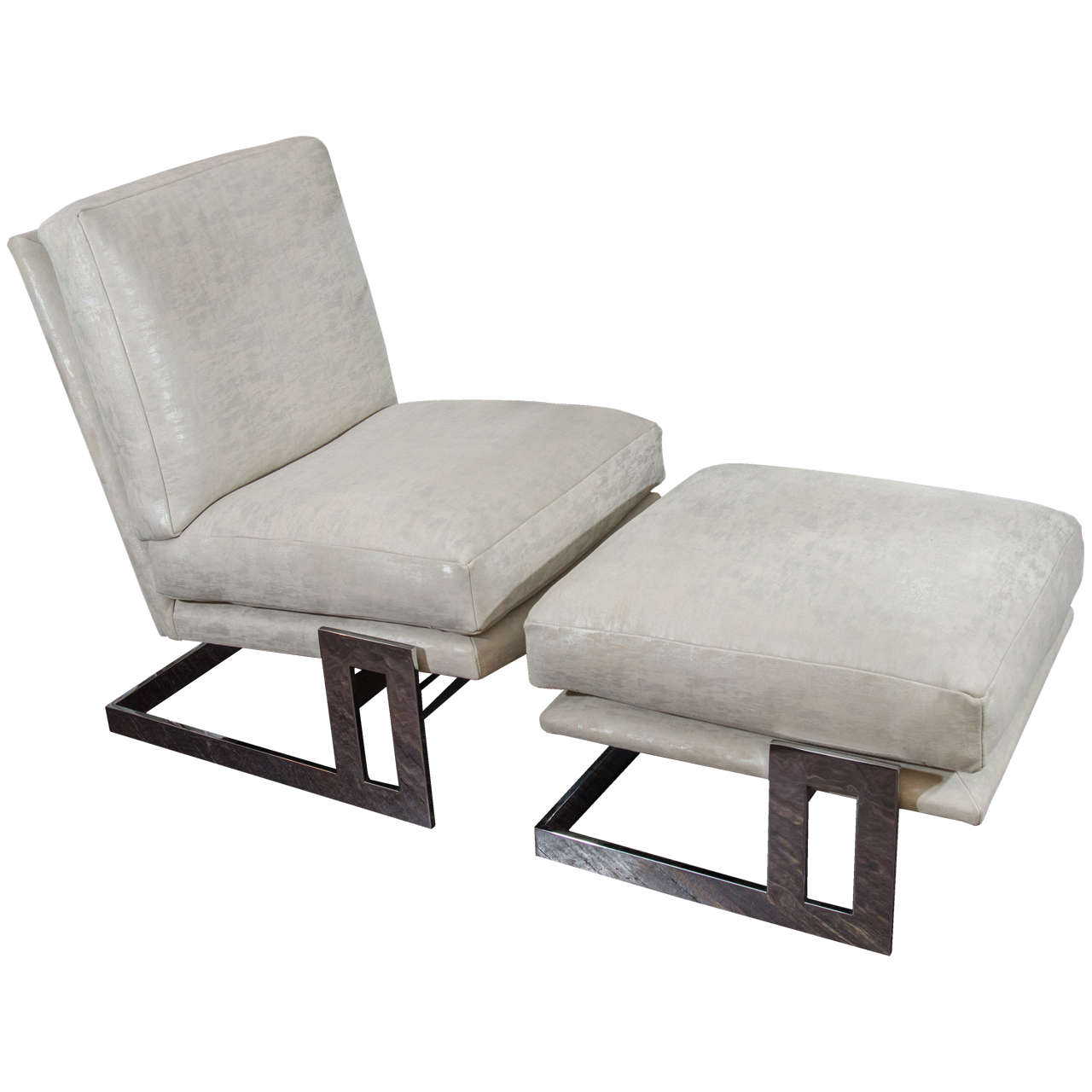 milo baughman chair cool chairs for boys room 1970s chrome framed with ottoman