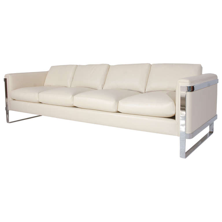 good quality sectional sofas leather sofa cushion sleek polished stainless steel and at 1stdibs