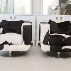 Black And White Cowhide Chair Shower Chairs For Handicap Pair Of Swivel At 1stdibs