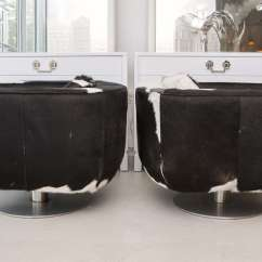Black And White Cowhide Chair Patterned Living Room Chairs Pair Of Swivel At 1stdibs