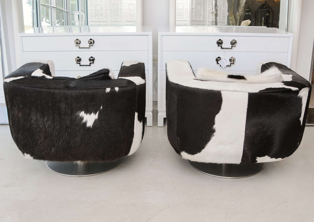black and white cowhide chair personalized kids pair of swivel chairs at 1stdibs