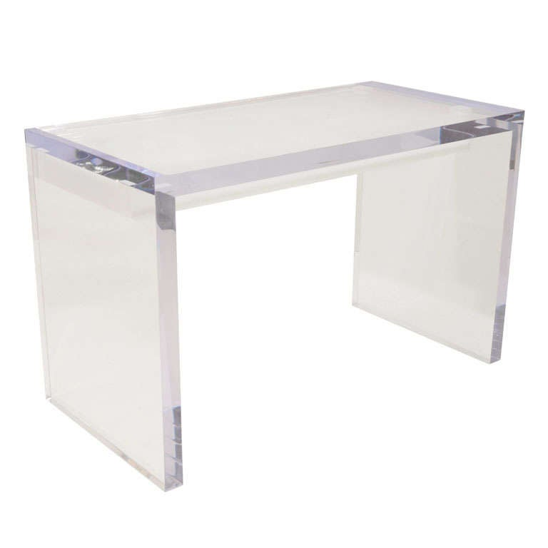 Large Lucite Writing Desk with Drawers at 1stdibs