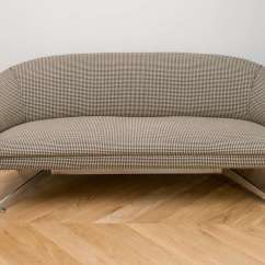 Houndstooth Sofa Fabric Leather Electric Recliner Ward Bennett With Original Wool At