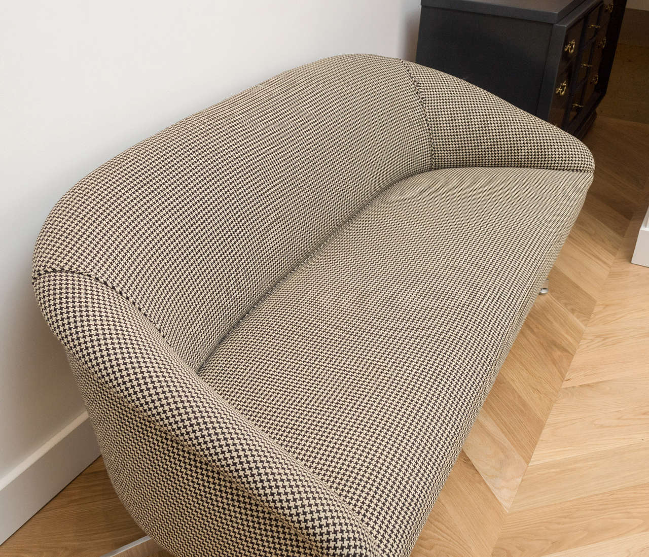 houndstooth sofa fabric reupholstery long island ward bennett with original wool at