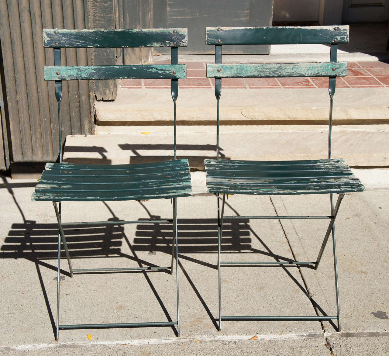 Outdoor French Bistro Chairs A Set Of Four Vintage French Bistro Folding Chairs