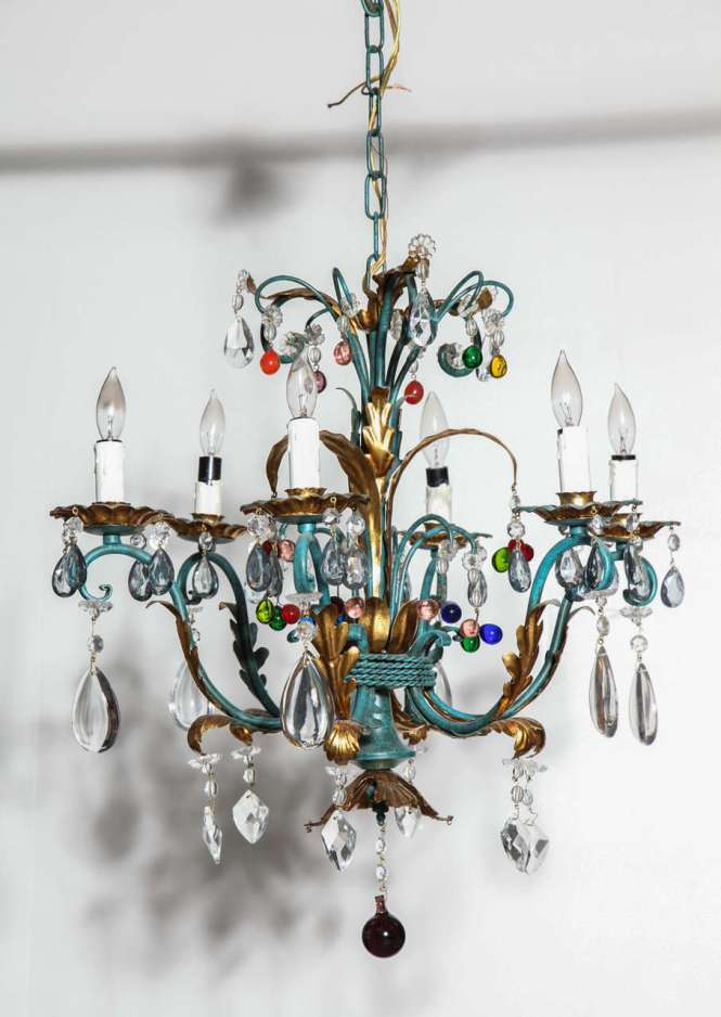 Vintage 1940s Italian Green And Gilt Chandelier With Colorful Crystals 2