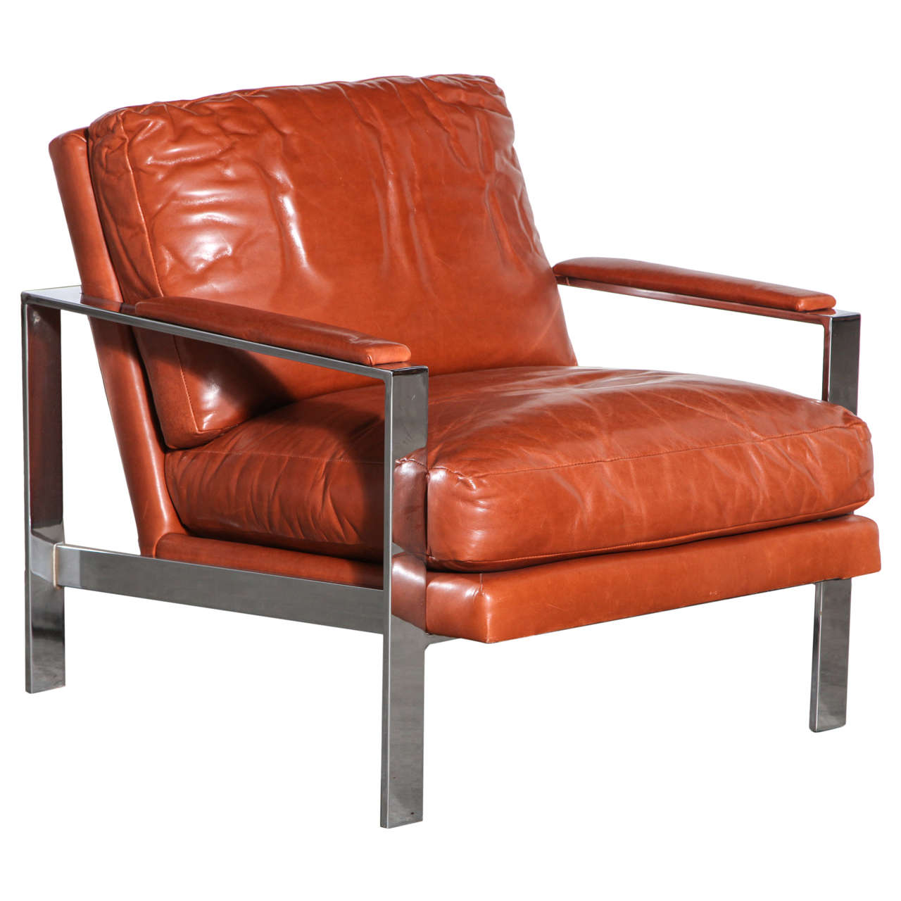 leather chrome chair poang review milo baughman and at 1stdibs for sale