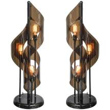 Pair Of Tall Acrylic Black Lucite Table Lamps 1stdibs