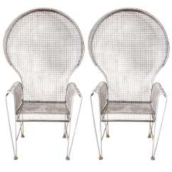 Outdoor Wire Chairs Chair Cover Rentals In Memphis Tn Pair Of Large Hooded At 1stdibs