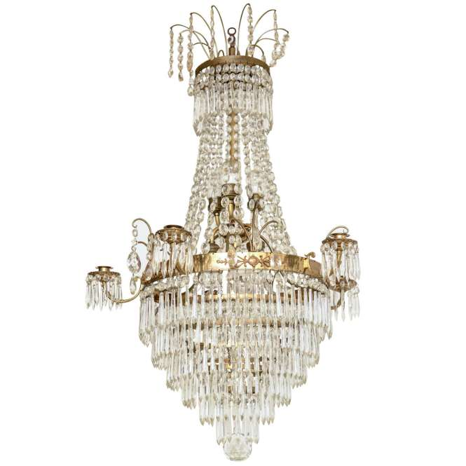 19th Century Swedish Crystal Chandelier For