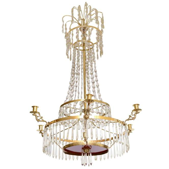 19th Century Antique Baltic Crystal Chandelier For