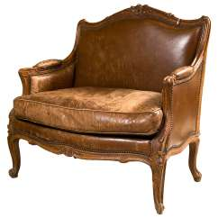 Leather Bergere Chair And Ottoman For Babies French Style Sale At 1stdibs