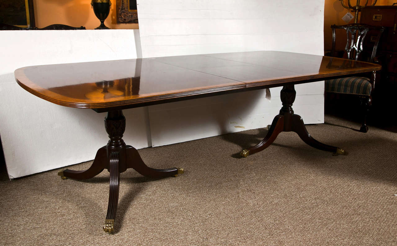Mahogany Double Pedestal Dining Table With Leaves