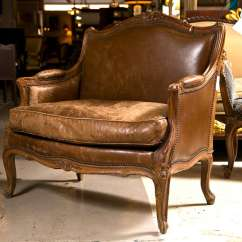 Leather Bergere Chair And Ottoman High Back Patio Furniture French Provincial Style For Sale At 1stdibs