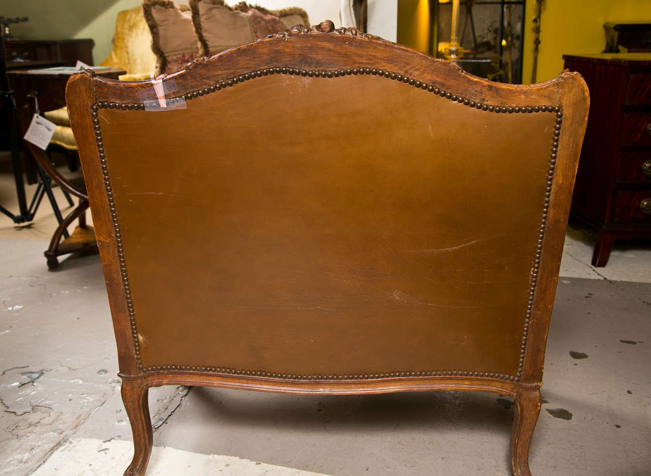 leather bergere chair and ottoman armed dining chairs french provincial style for sale at 1stdibs