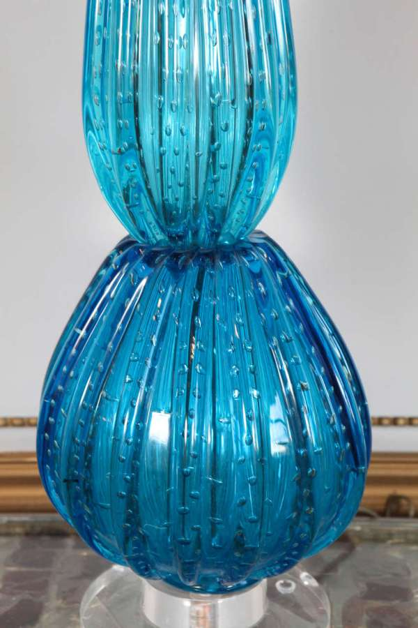 Vintage Hand Blown Blue Glass Table Lamp