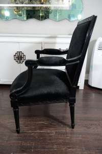 1940's Louis XVI Style Chairs with Black Hair on Cowhide ...