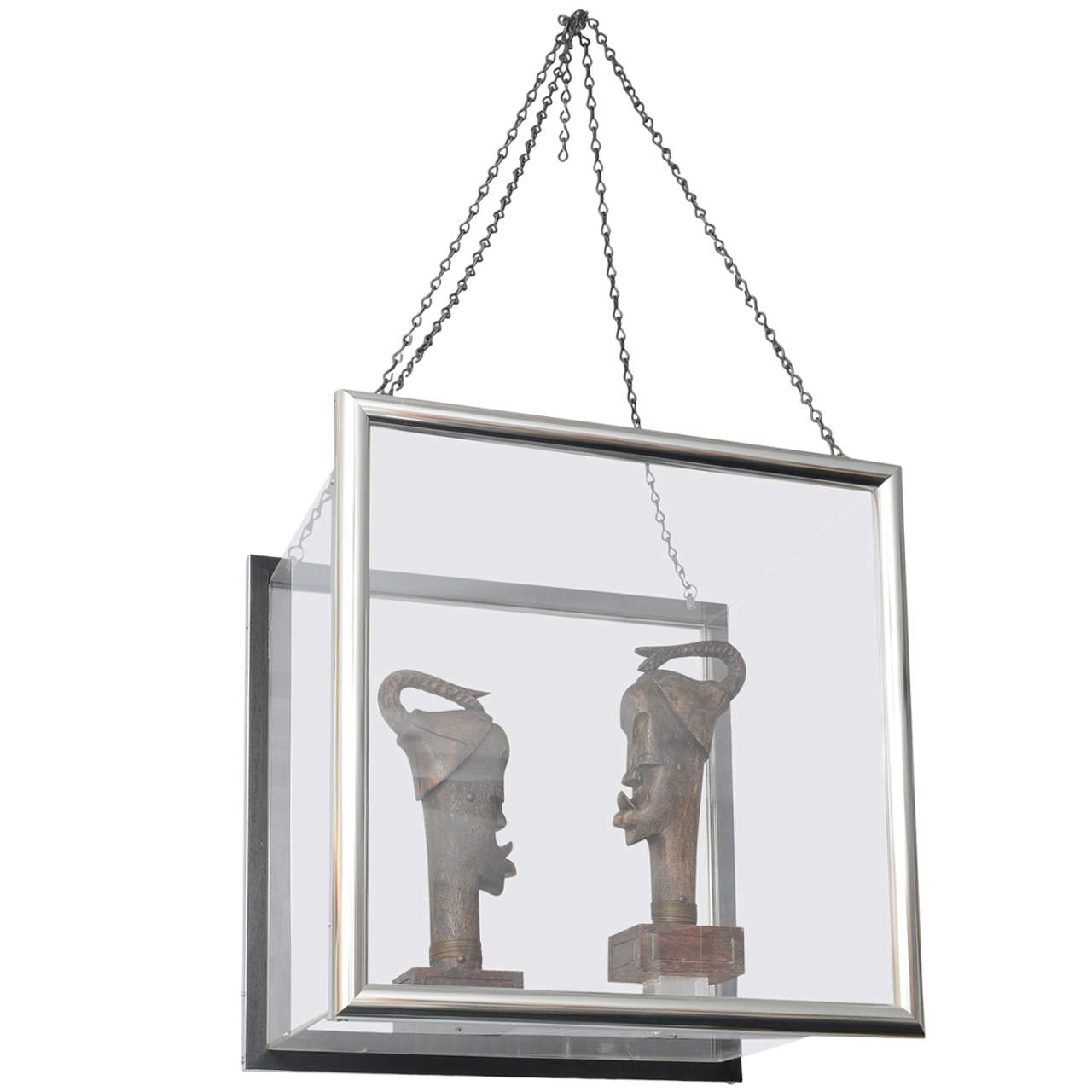 hanging chair lahore square leg sleeves lucite framed african sculpture at 1stdibs