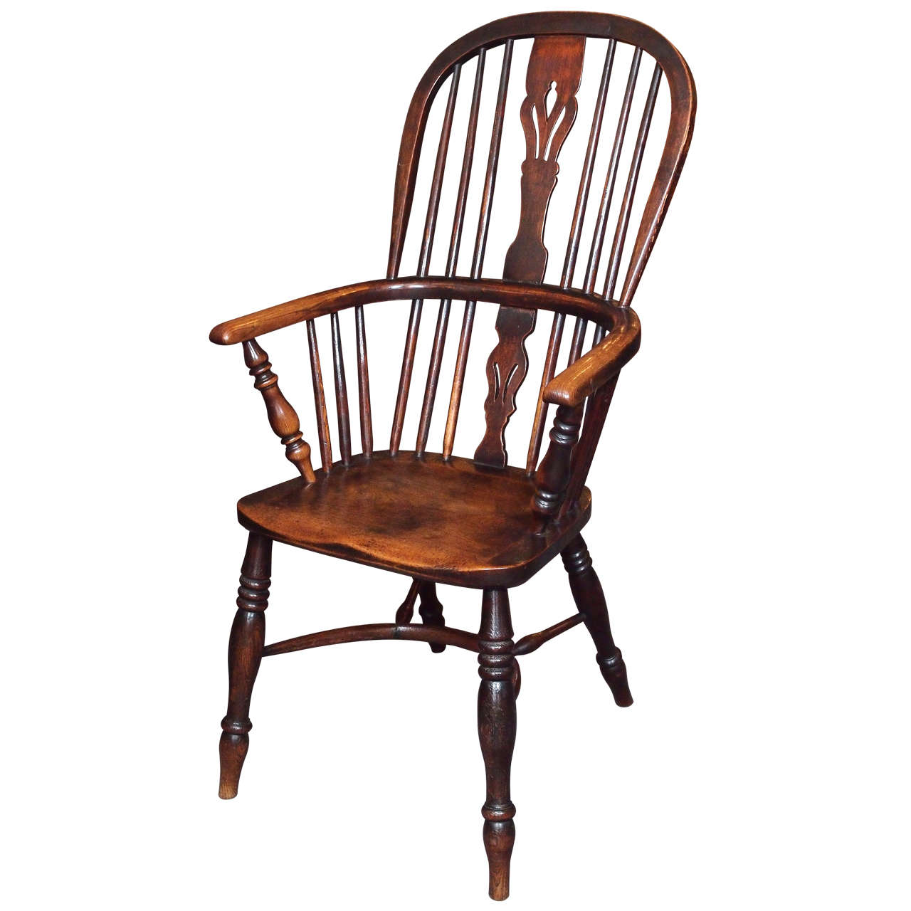 Stretcher Chair Antique English Elm And Ash Windsor Chair With Crinoline