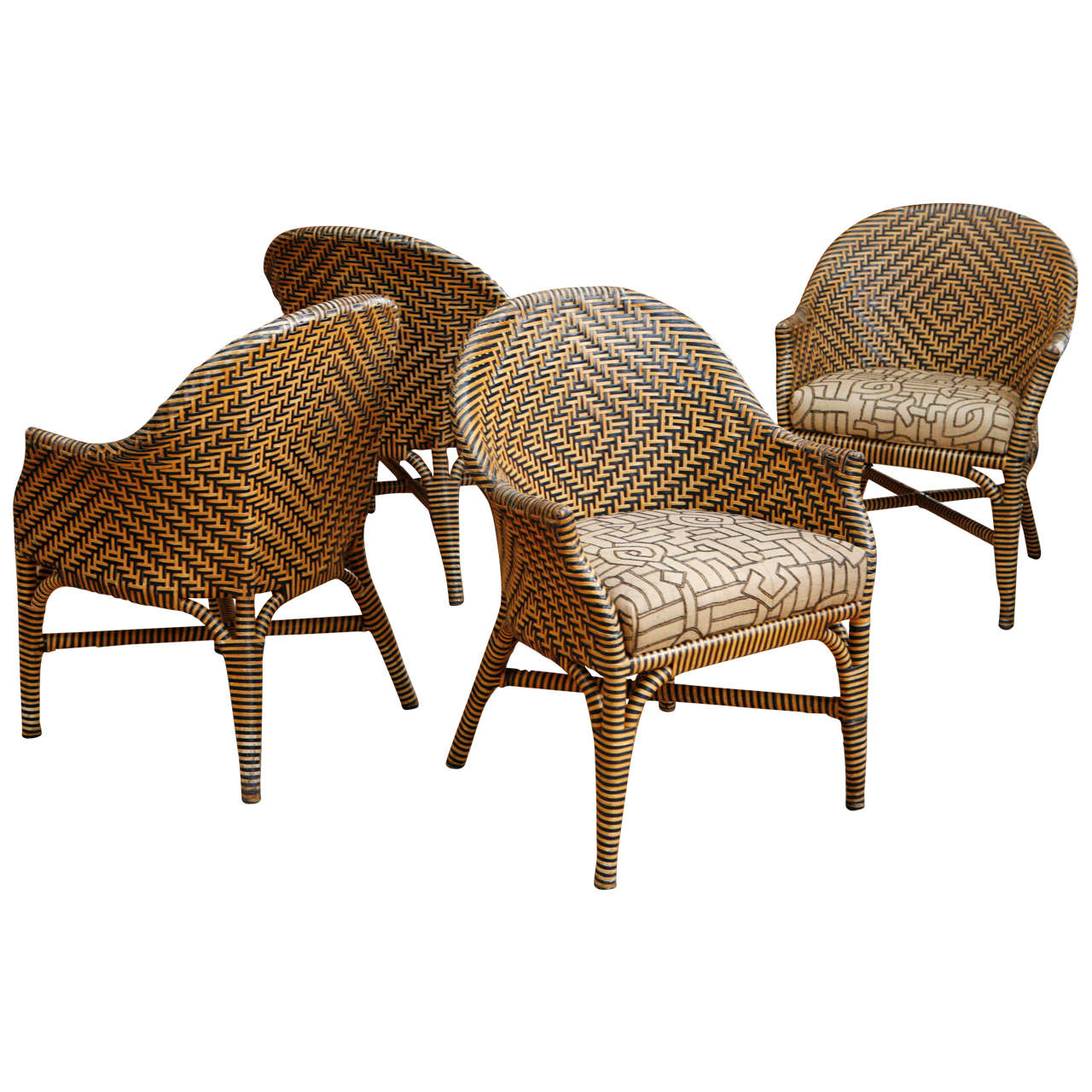 Woven Leather Chair Woven Leather Chairs With Kuba Cloth Seats At 1stdibs