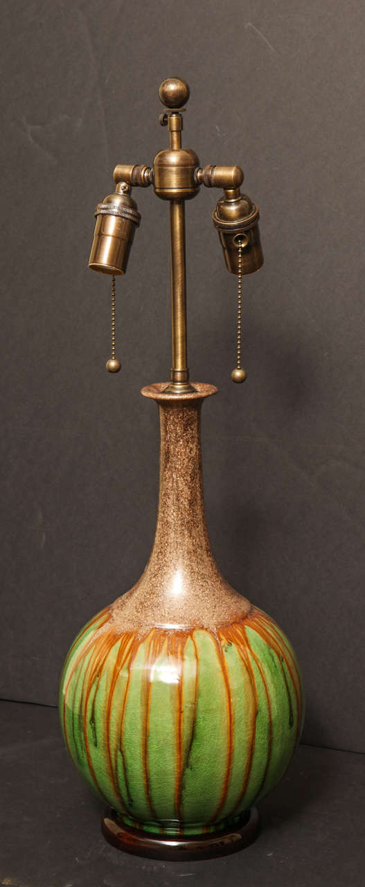Pair of Brown and Green Long Neck Gourd Shaped Glazed