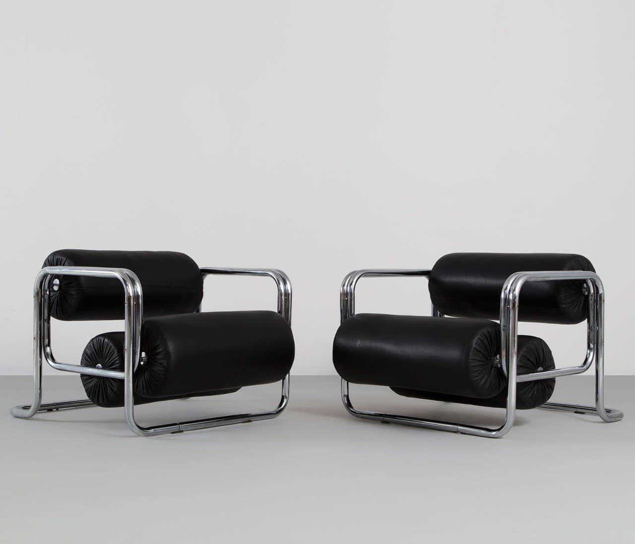 easy chair nadir steel chrome revolving gem set of two club chairs tube frame black leather