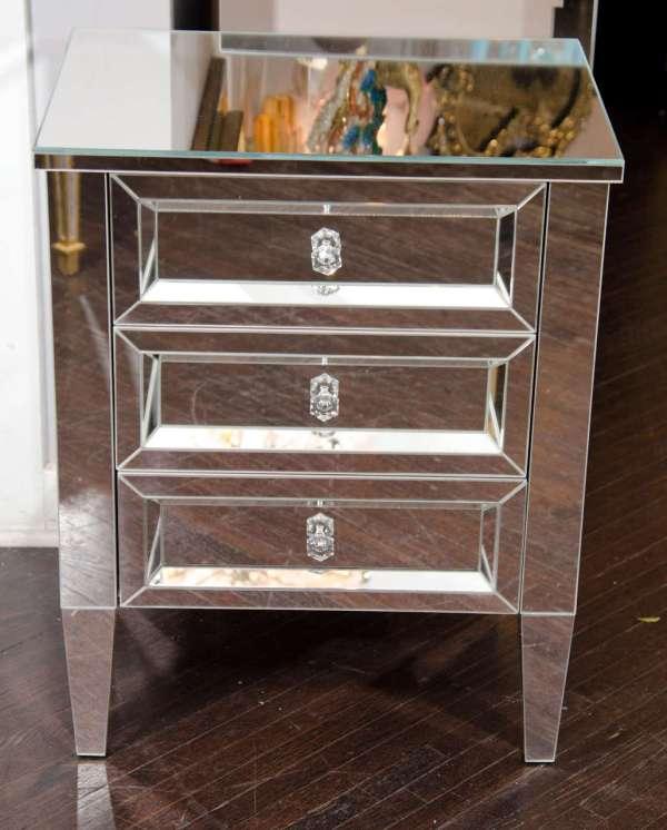 Custom Single Starphire Mirrored Beveled Chest Of Drawers